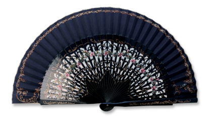 eventail-aragona-marine-peint-main-artisanal-traditionnel