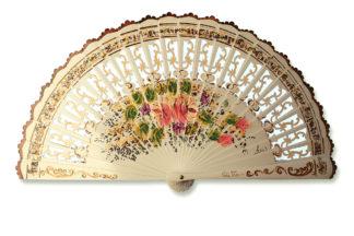 eventail-flores-ivoire-fleur-peint-main-artisanal